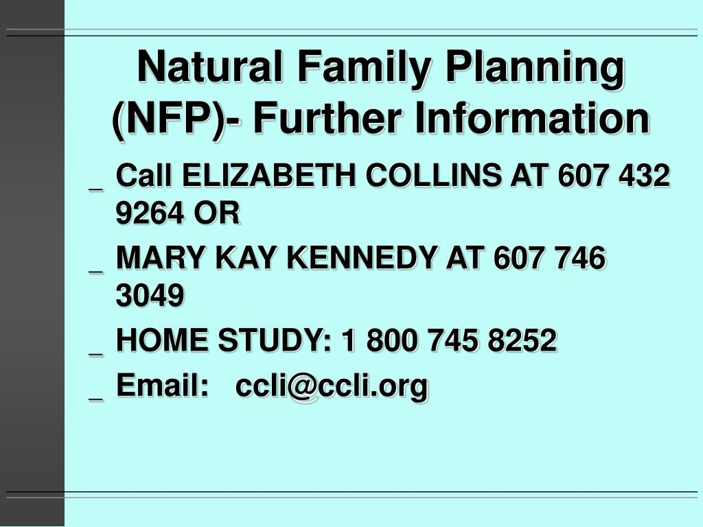 Natural Family Planning (NFP)- Further Information