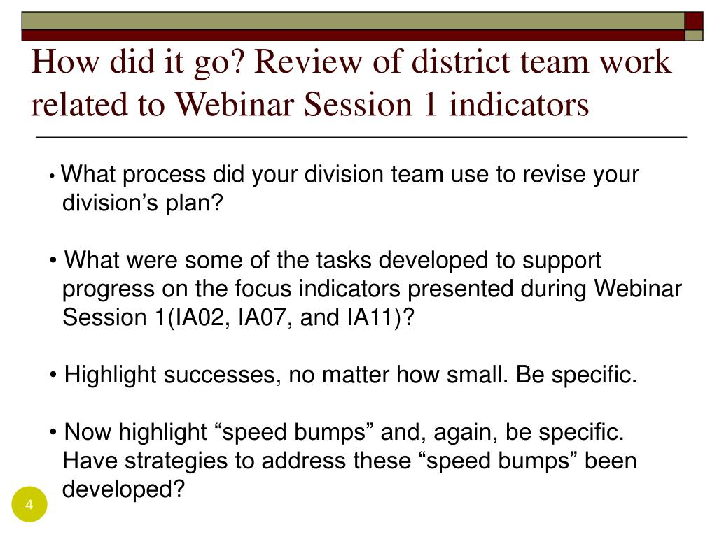 How did it go? Review of district team work related to Webinar Session 1 indicators