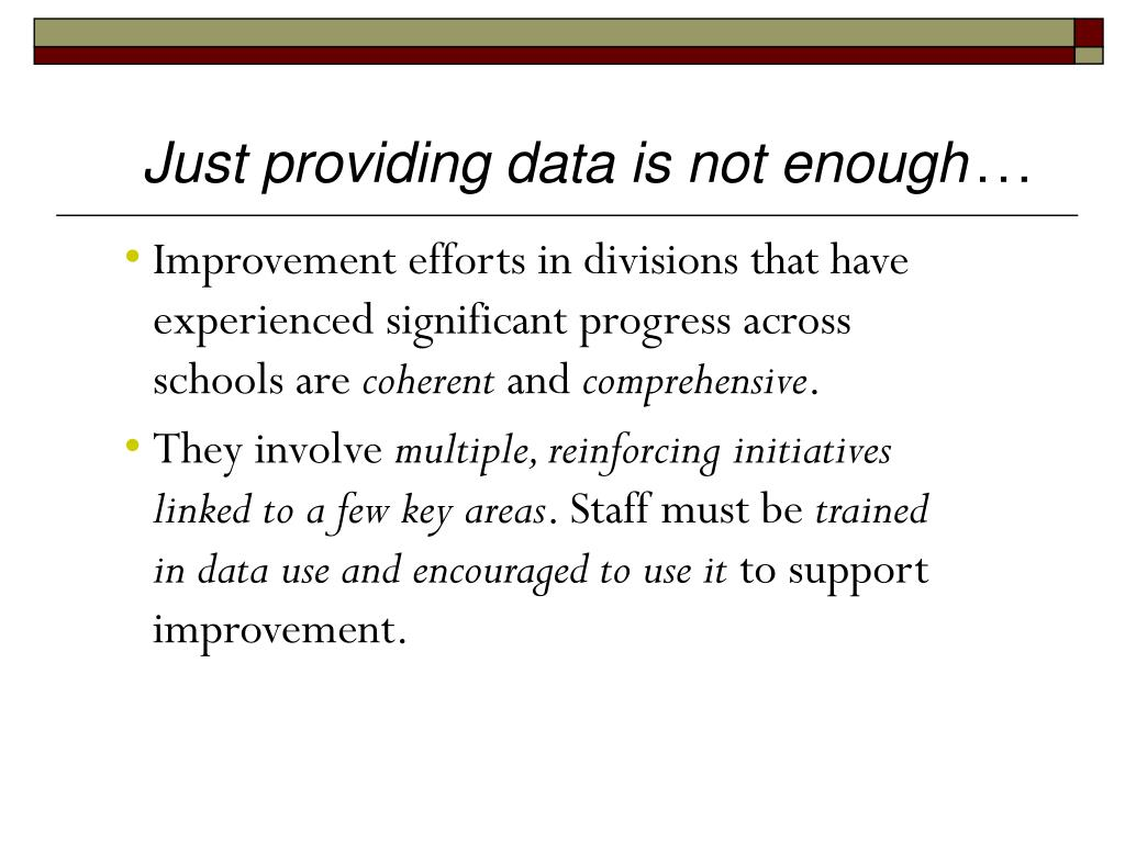 Just providing data is not enough