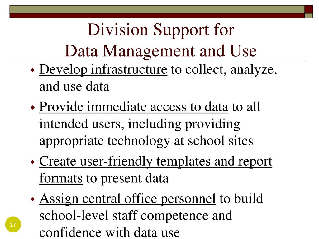 Division Support for                           Data Management and Use