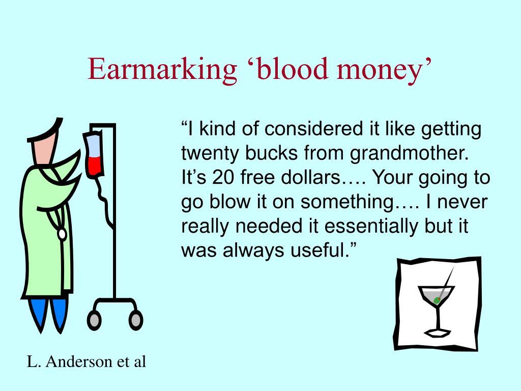 Earmarking 'blood money'