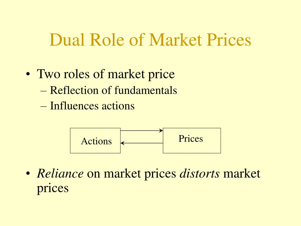 Dual Role of Market Prices