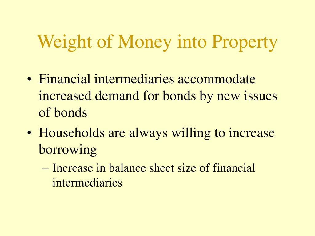 Weight of Money into Property