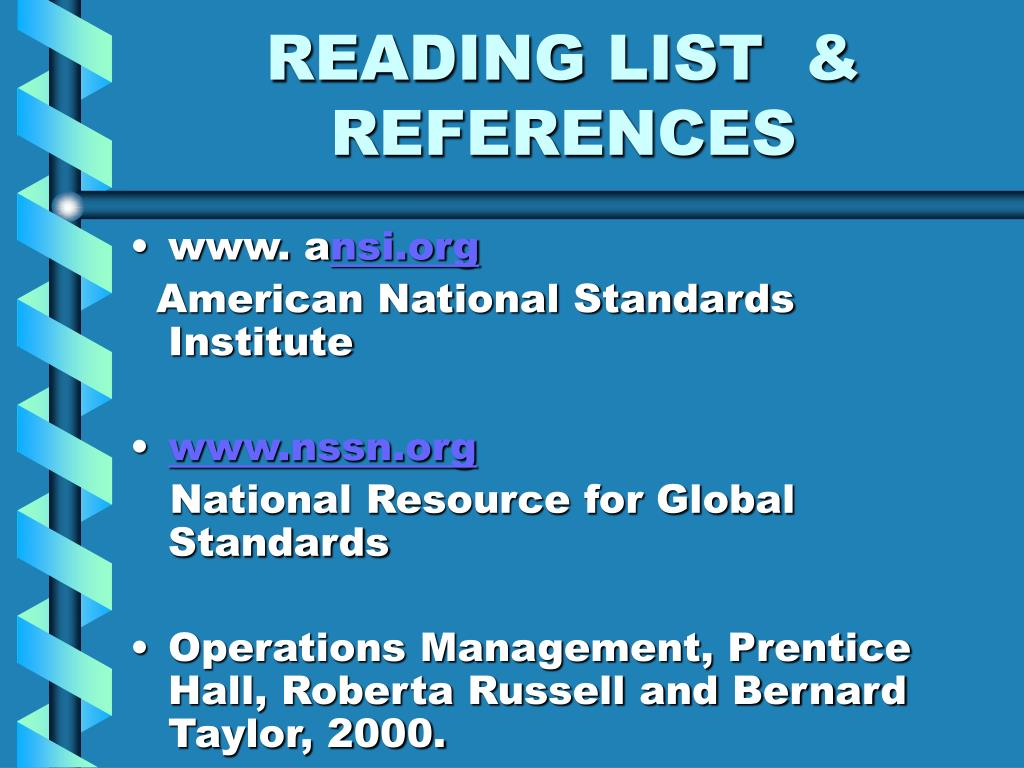READING LIST  & REFERENCES