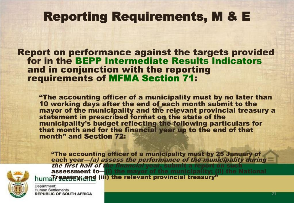 Report on performance against the targets provided for in the