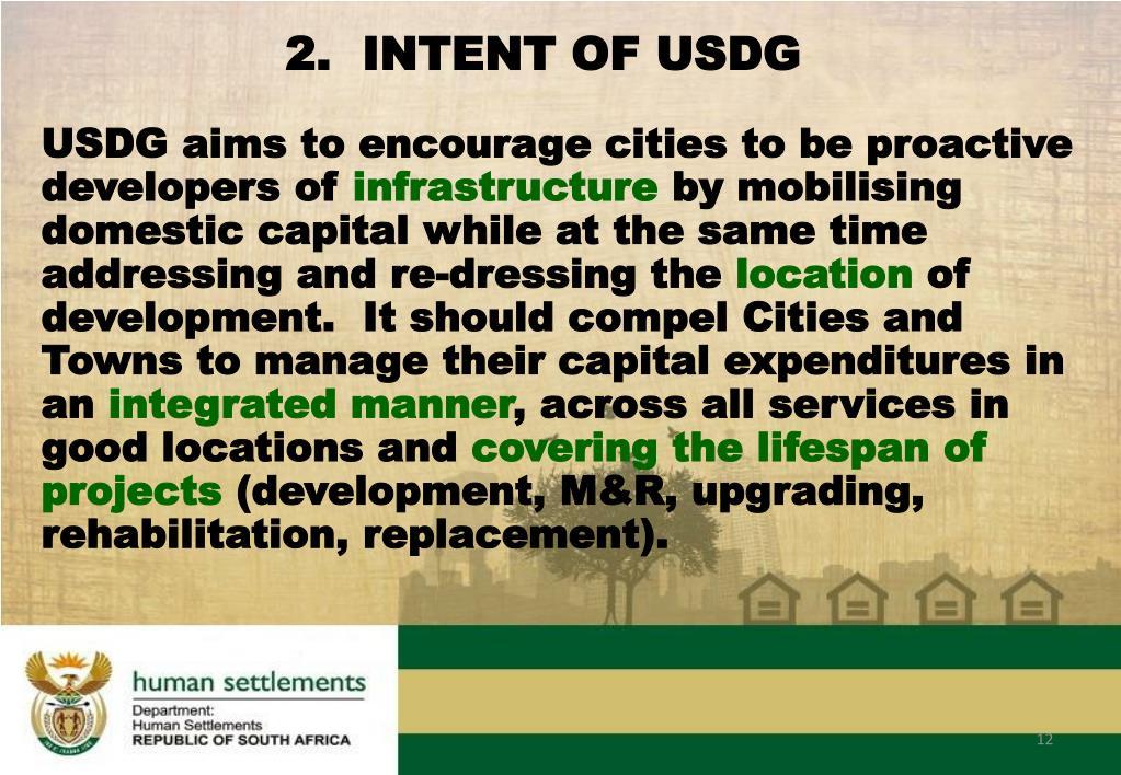 2.  INTENT OF USDG