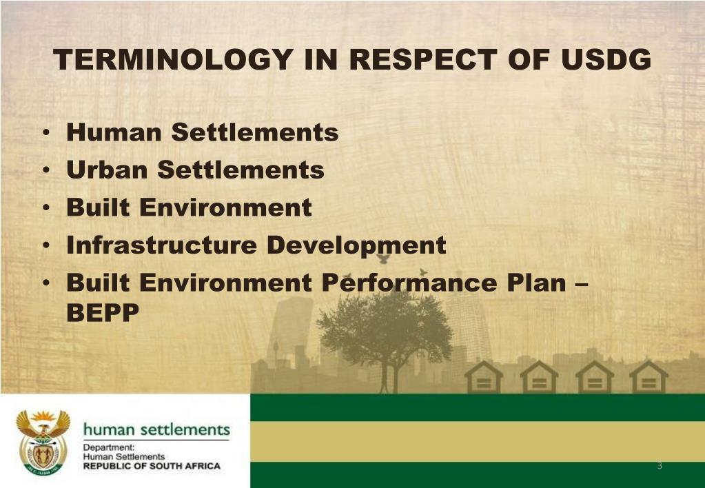 TERMINOLOGY IN RESPECT OF USDG