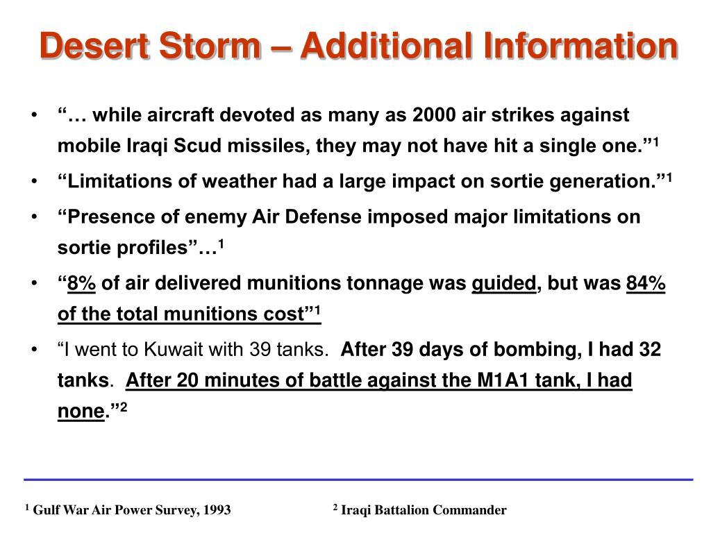 Desert Storm – Additional Information