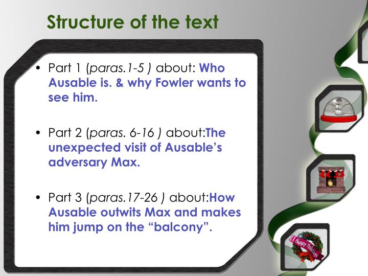 Structure of the text