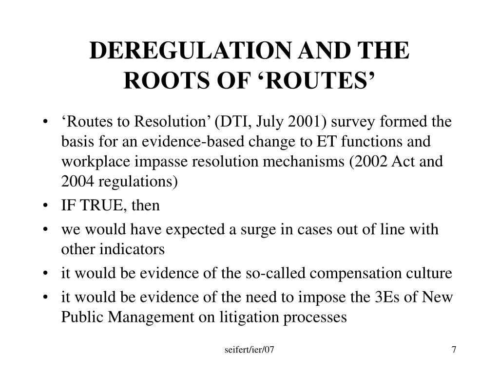 DEREGULATION AND THE ROOTS OF 'ROUTES'