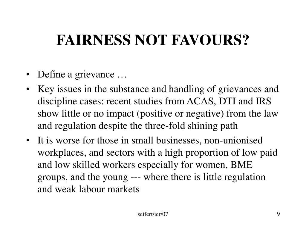 FAIRNESS NOT FAVOURS?