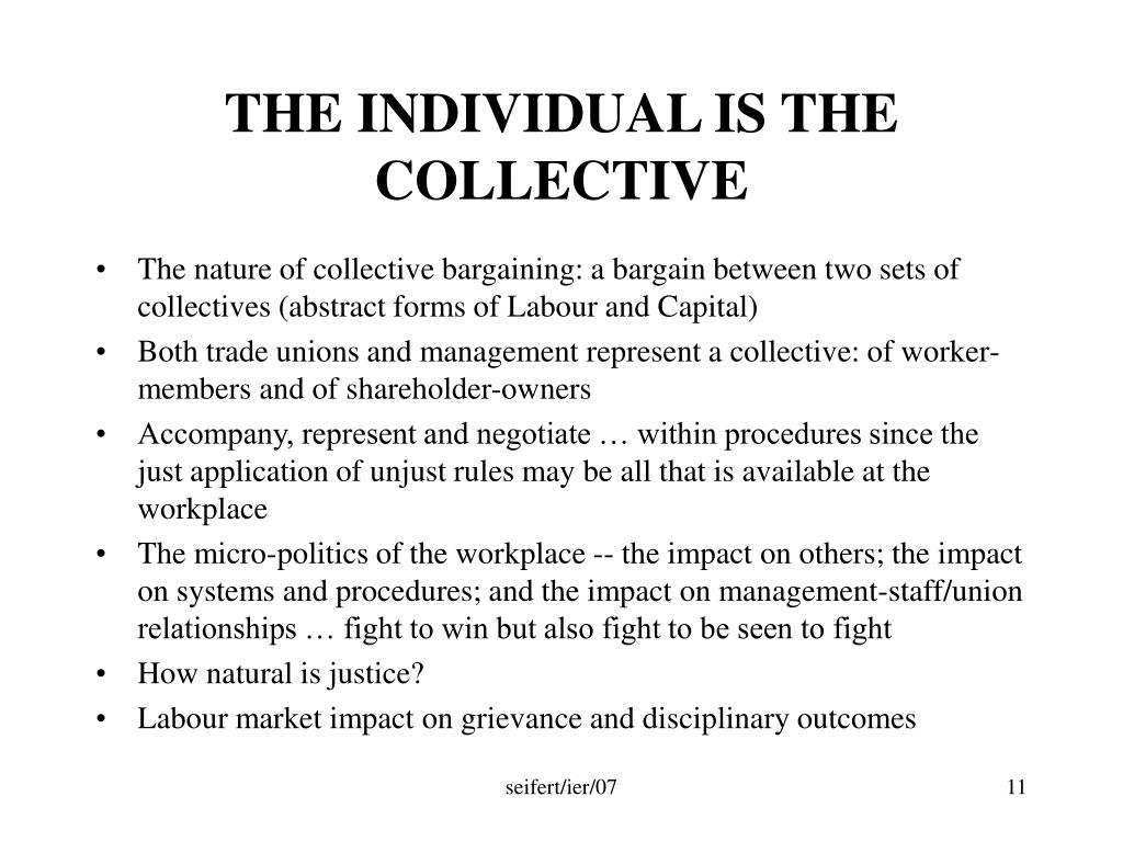 THE INDIVIDUAL IS THE COLLECTIVE