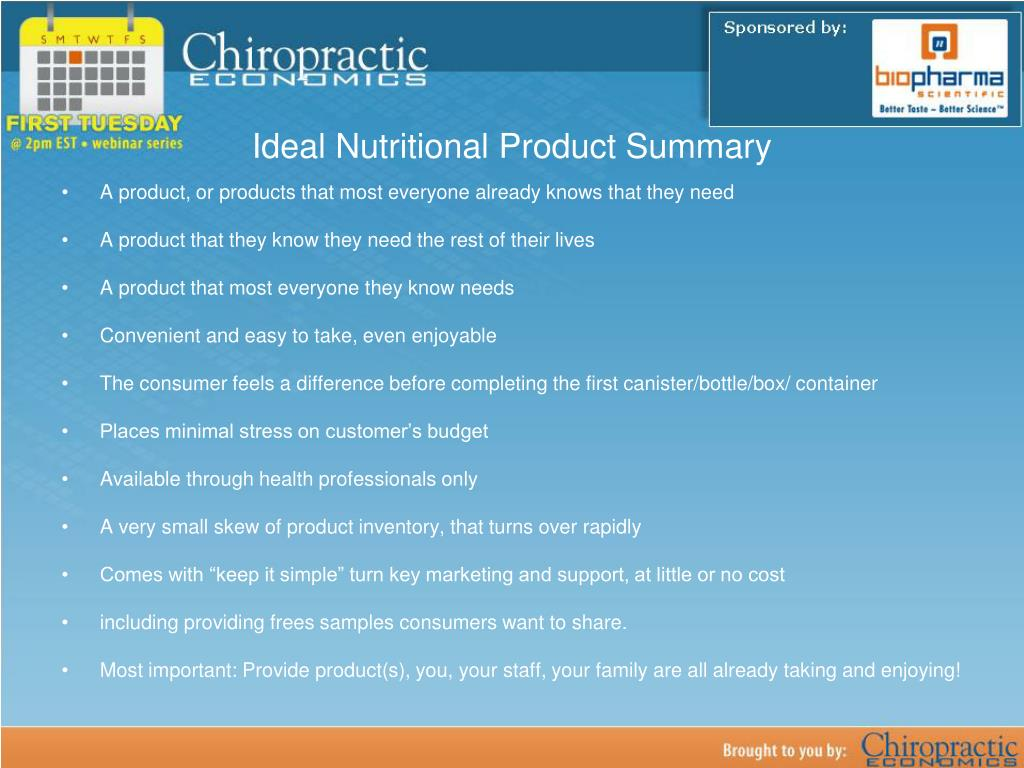 Ideal Nutritional Product Summary