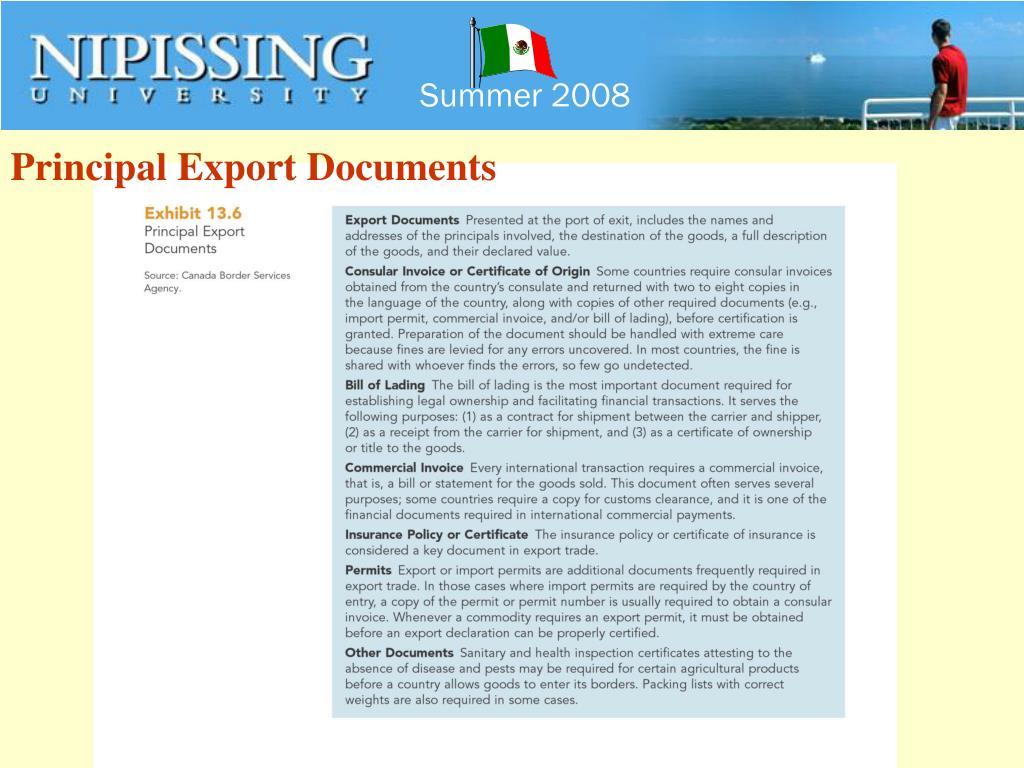Principal Export Documents