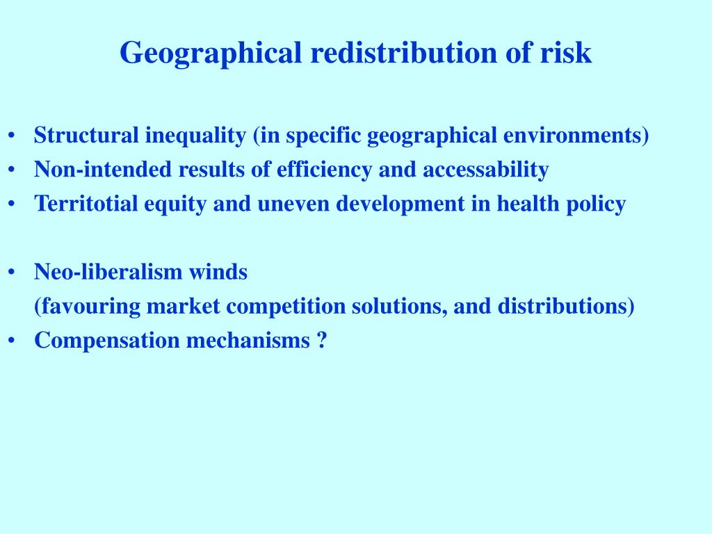 Geographical redistribution of risk