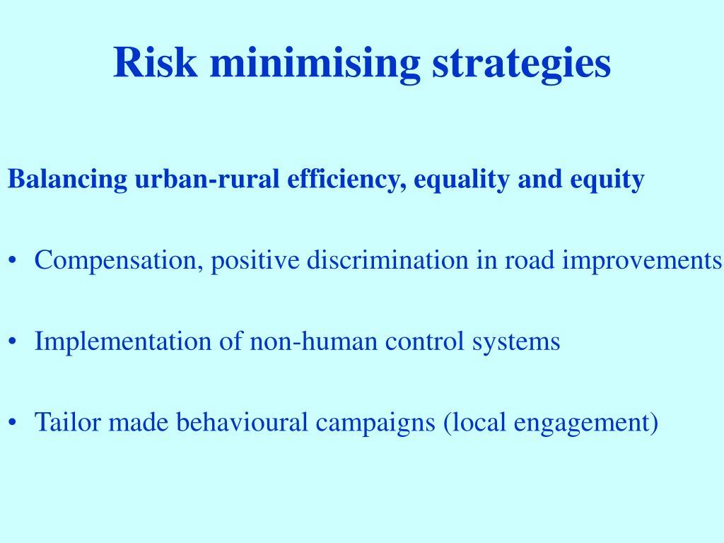 Risk minimising strategies
