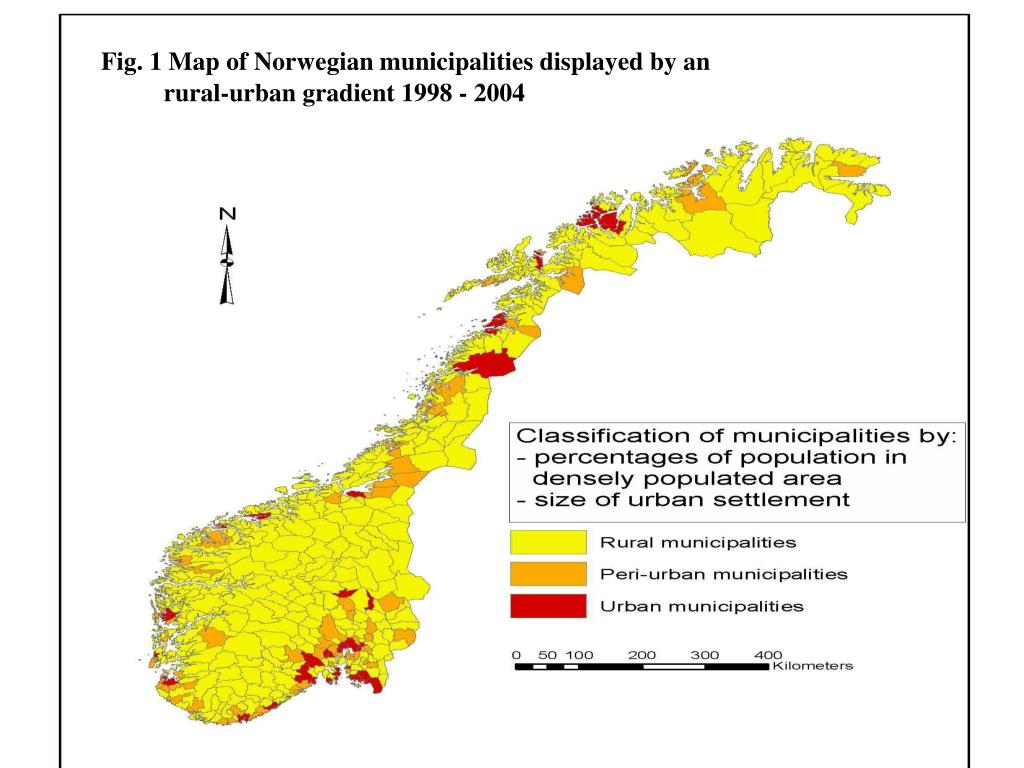 Fig. 1 Map of Norwegian municipalities displayed by an