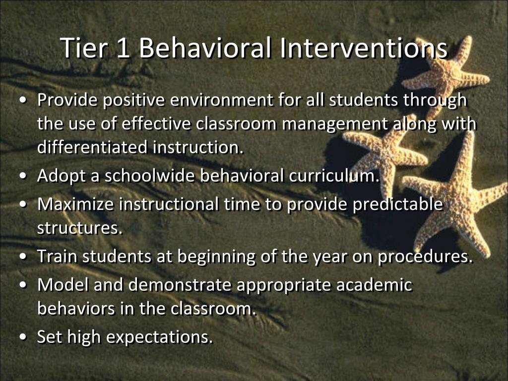 Tier 1 Behavioral Interventions