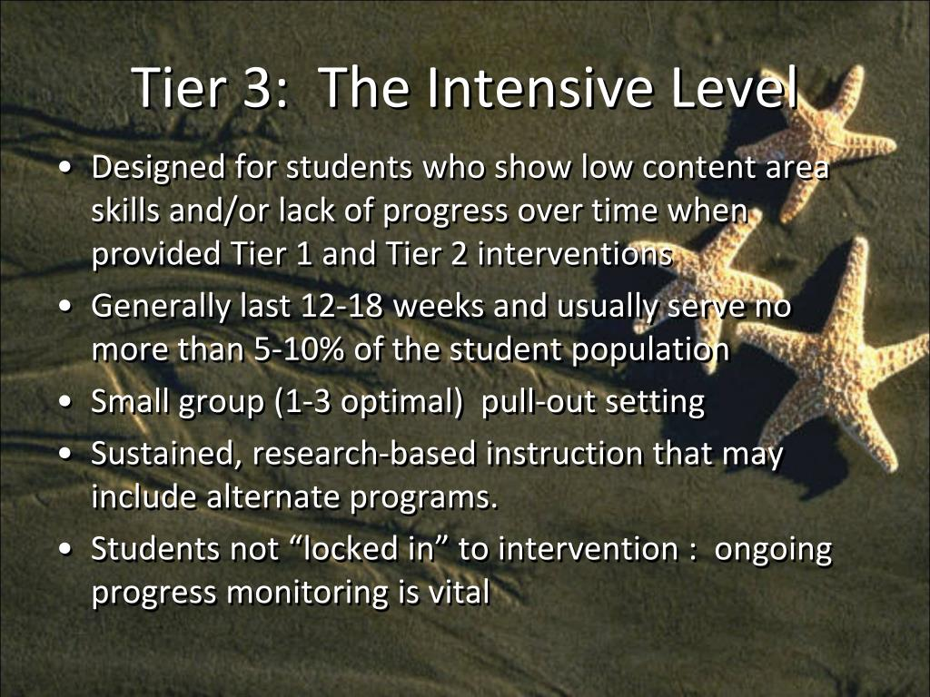 Tier 3:  The Intensive Level