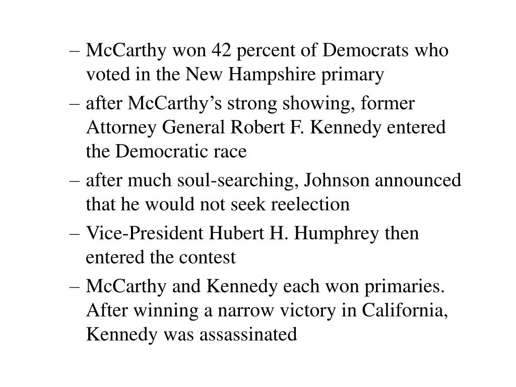 McCarthy won 42 percent of Democrats who voted in the New Hampshire primary