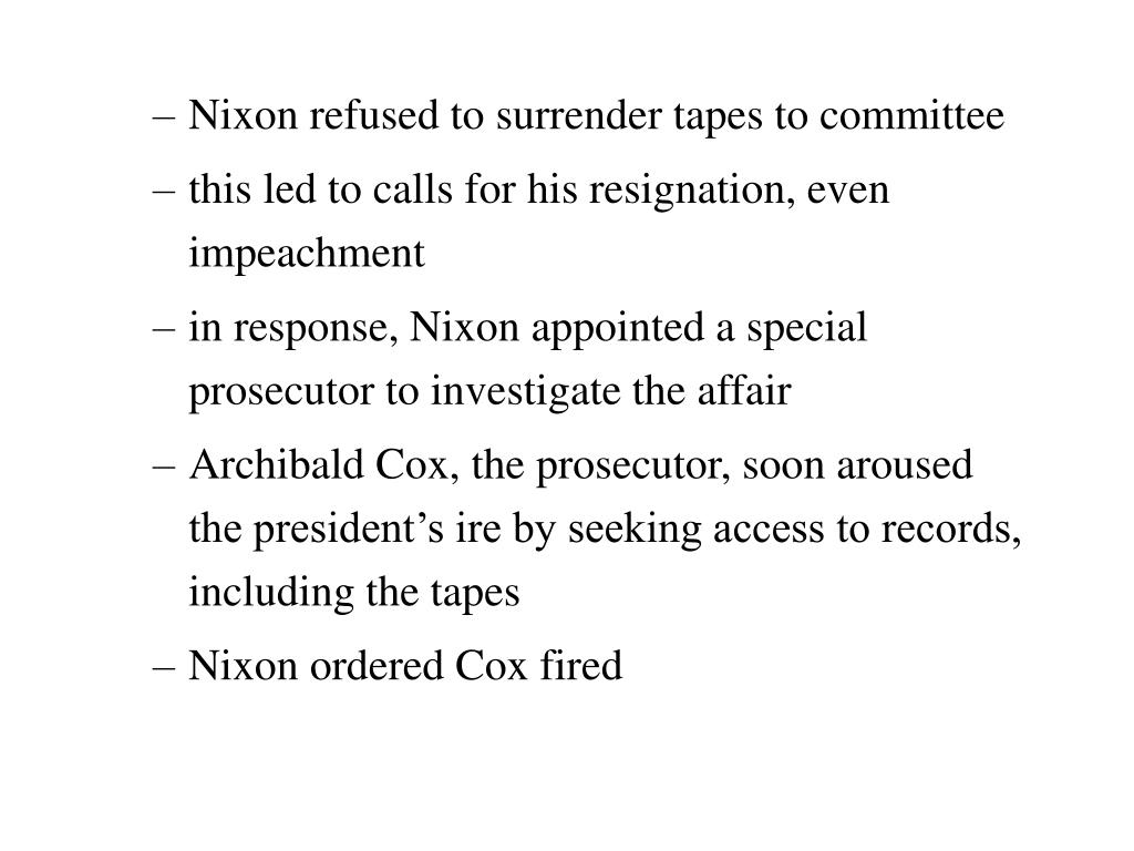 Nixon refused to surrender tapes to committee