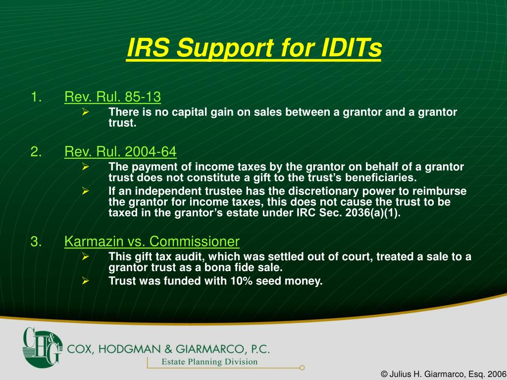 IRS Support for IDITs