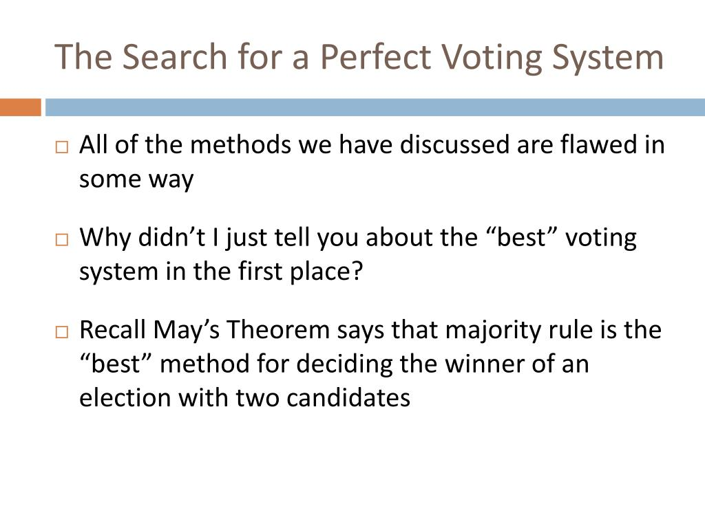 The Search for a Perfect Voting System