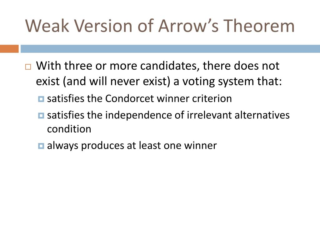 Weak Version of Arrow's Theorem