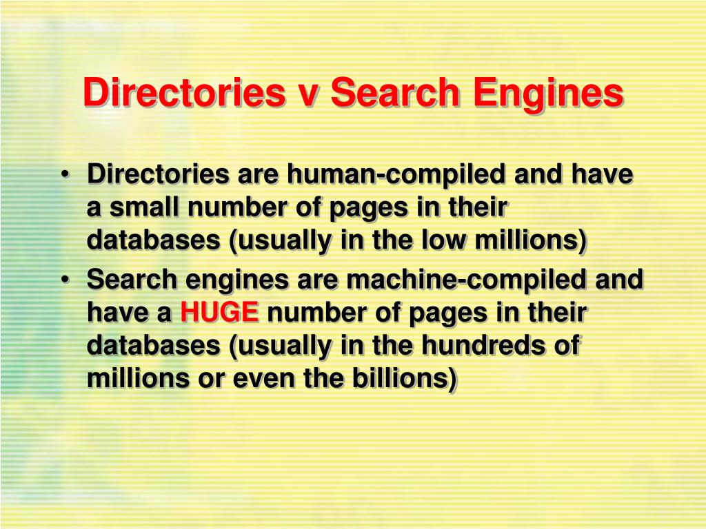 Directories v Search Engines