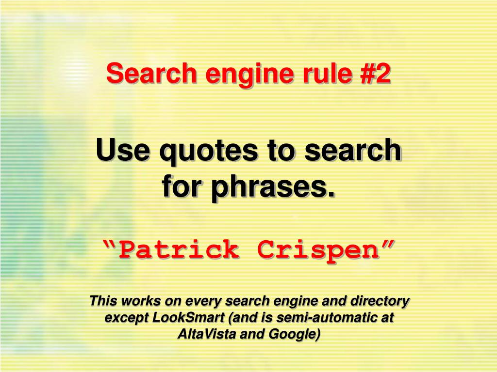 Search engine rule #2