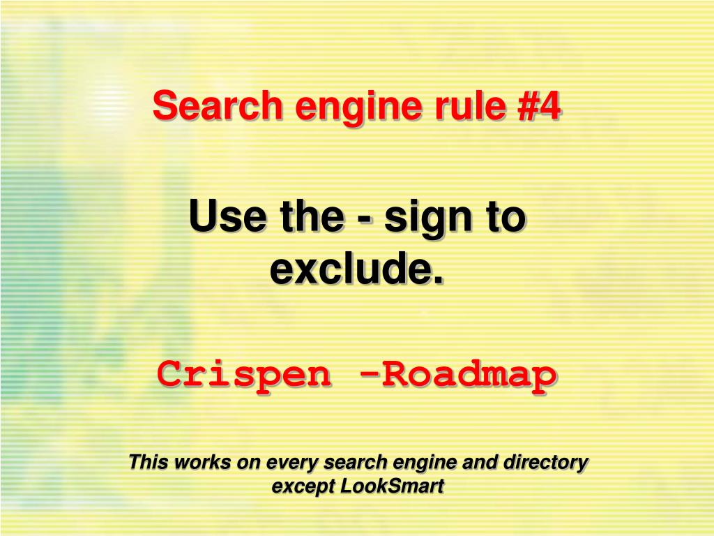 Search engine rule #4
