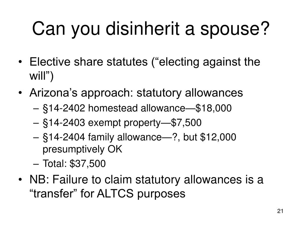 Can you disinherit a spouse?