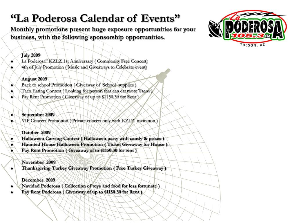 """La Poderosa Calendar of Events"""