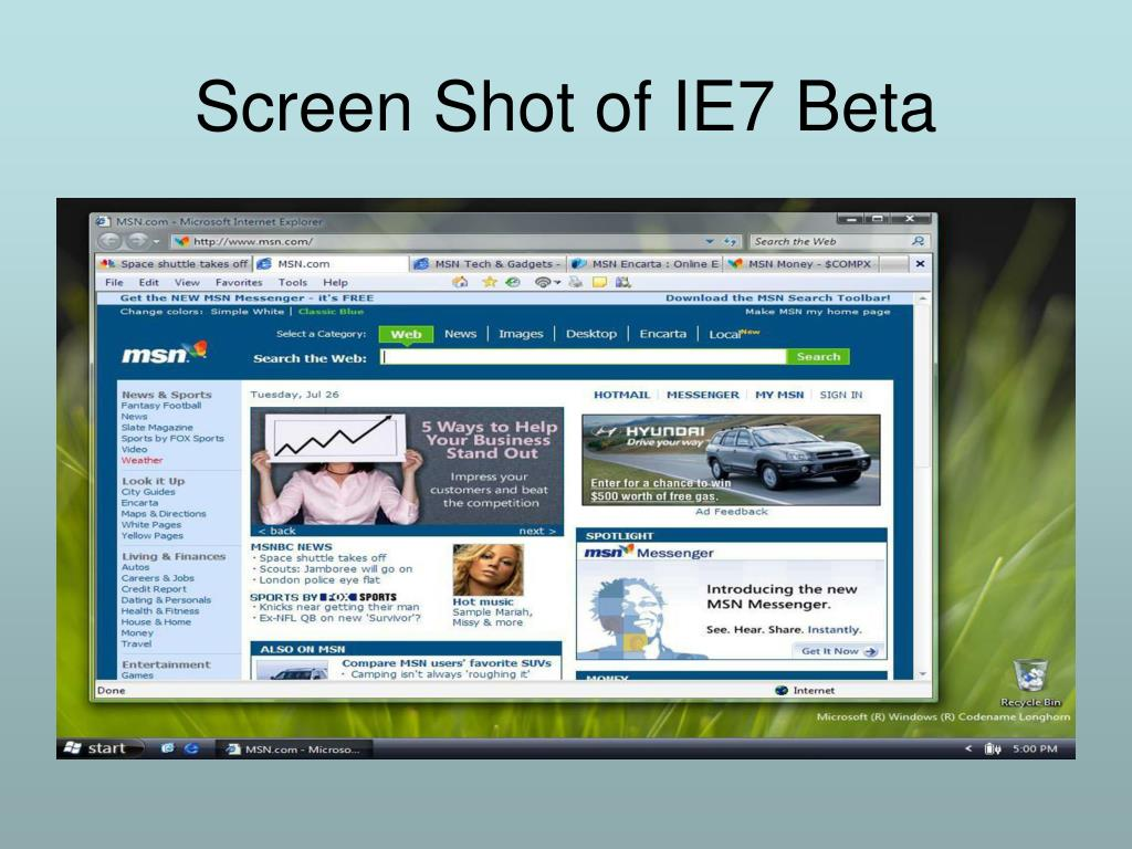 Screen Shot of IE7 Beta