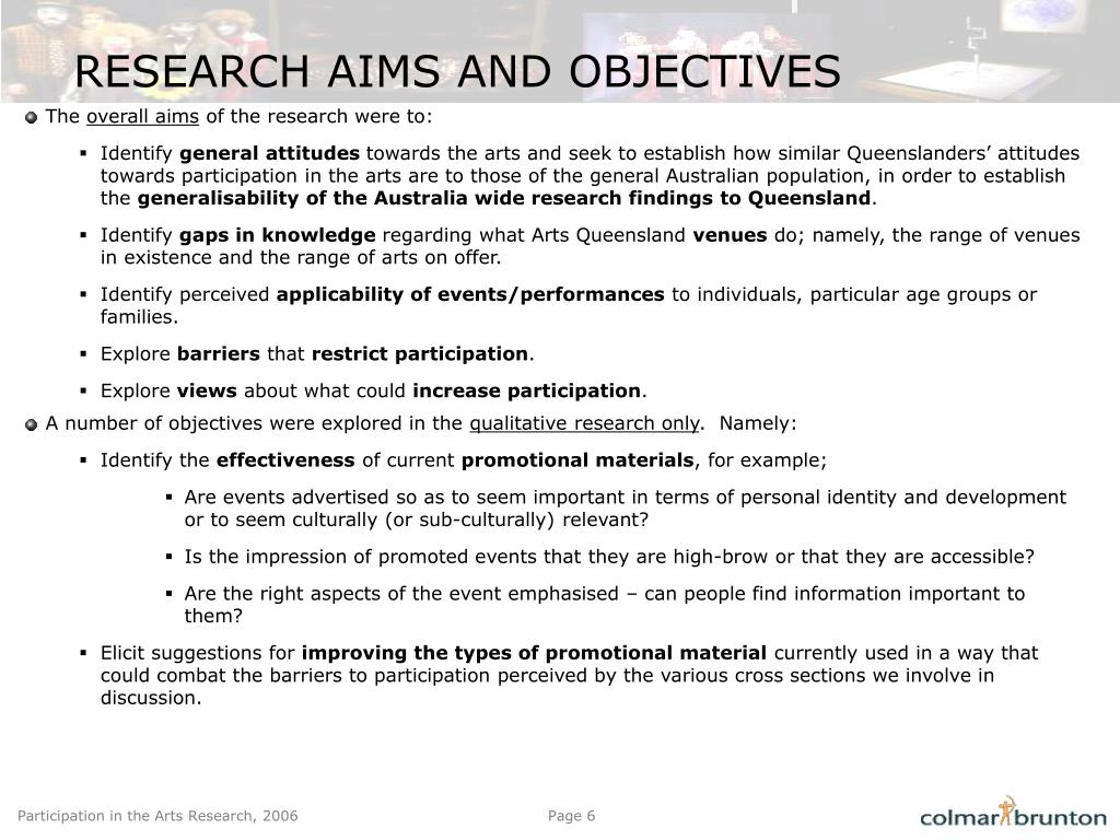 RESEARCH AIMS AND OBJECTIVES