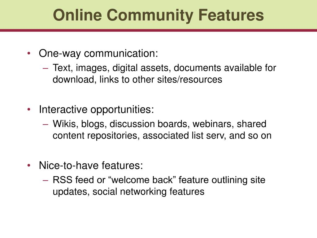 Online Community Features