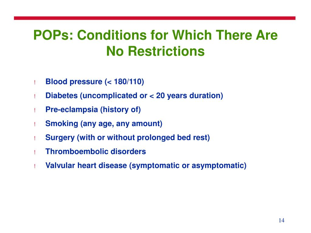 POPs: Conditions for Which There Are No Restrictions