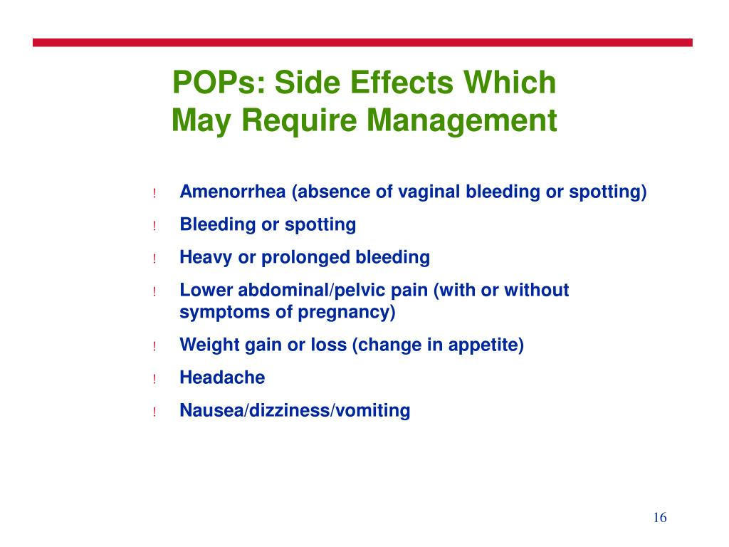 POPs: Side Effects Which