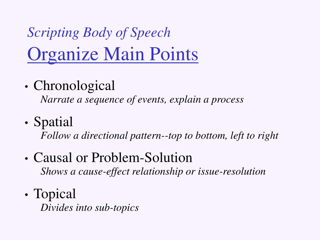 Scripting Body of Speech