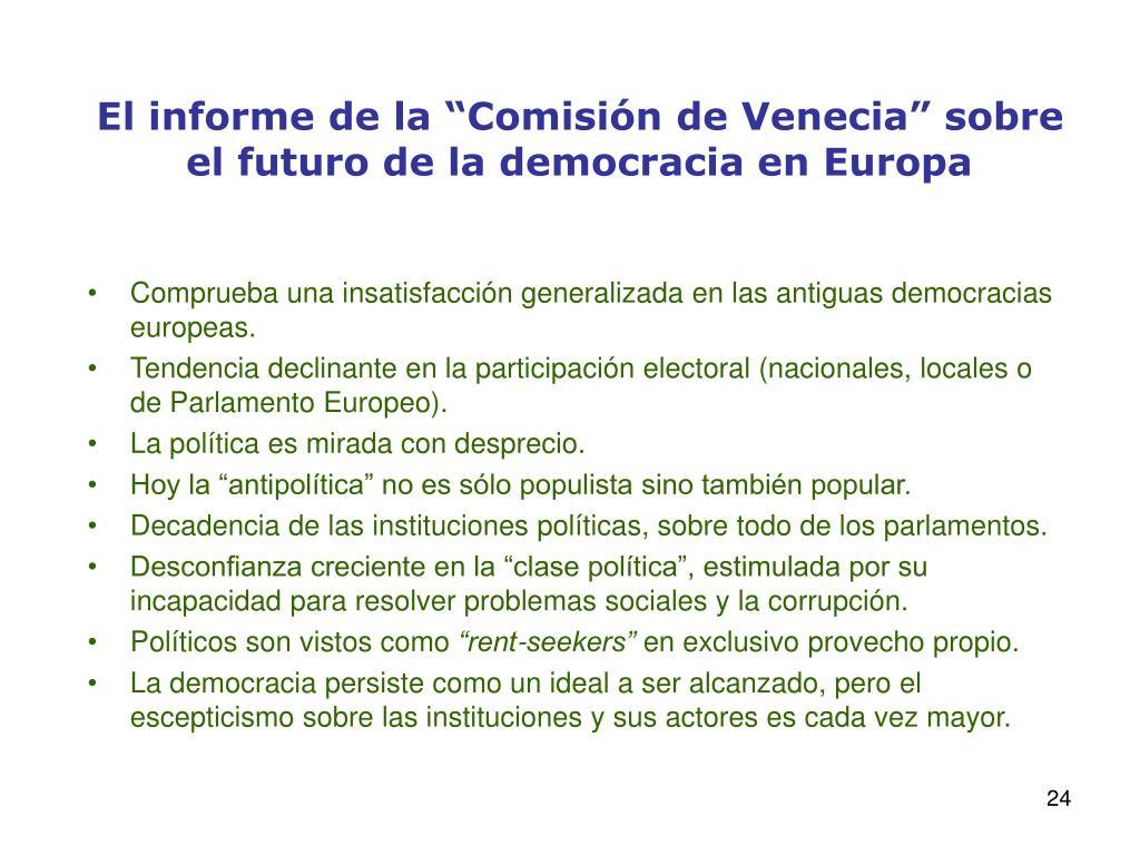 """El informe de la """"Comisión de Venecia"""" sobre el futuro de la democracia en Europa"""