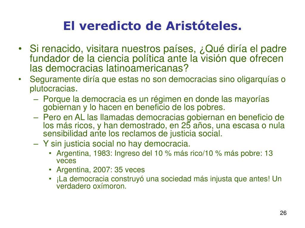 El veredicto de Aristóteles.