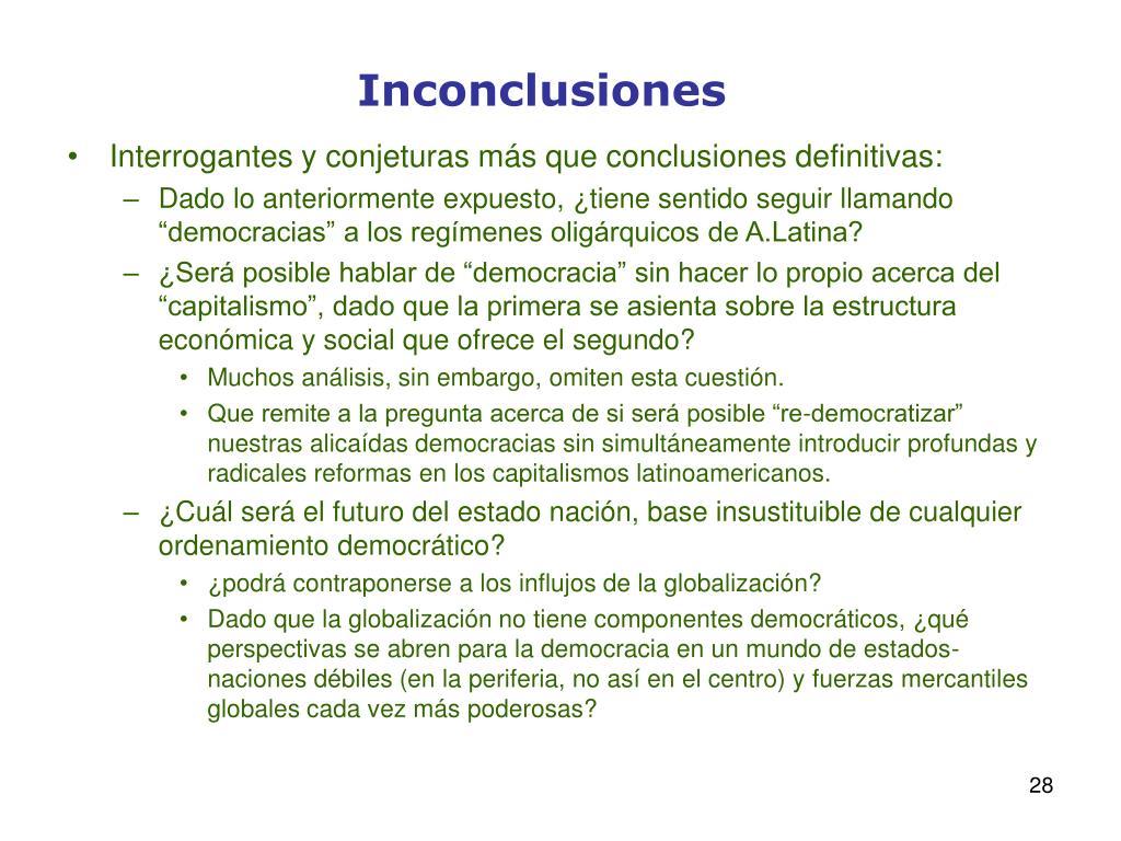 Inconclusiones