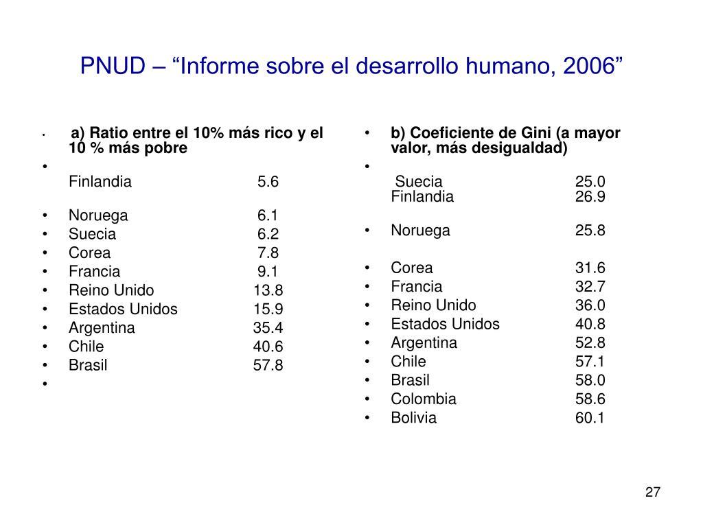 a) Ratio entre el 10% más rico y el 10 % más pobre