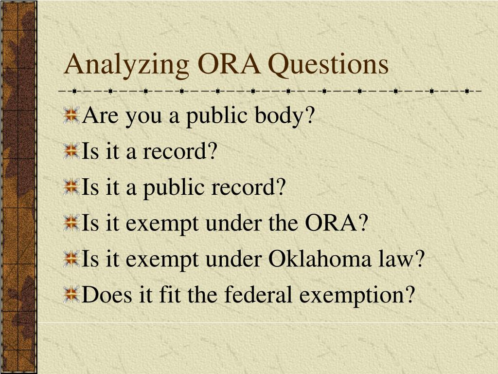 Analyzing ORA Questions