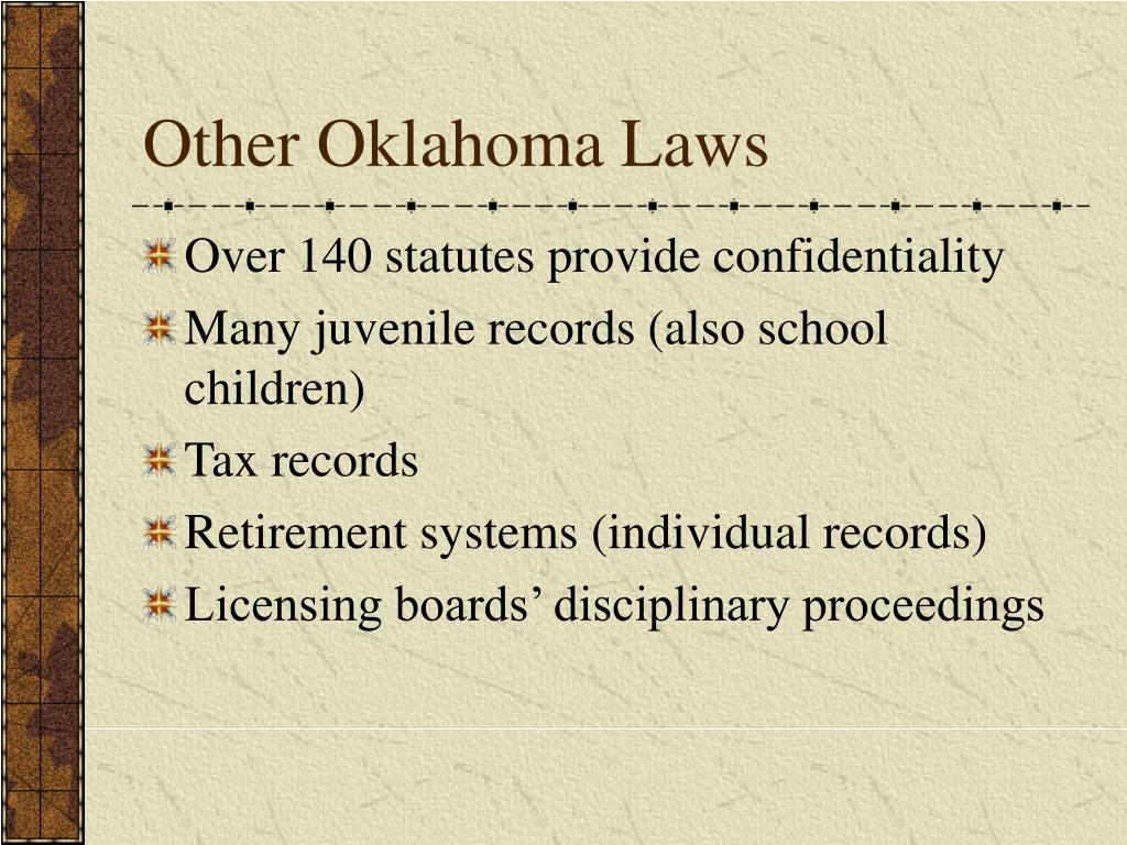 Other Oklahoma Laws