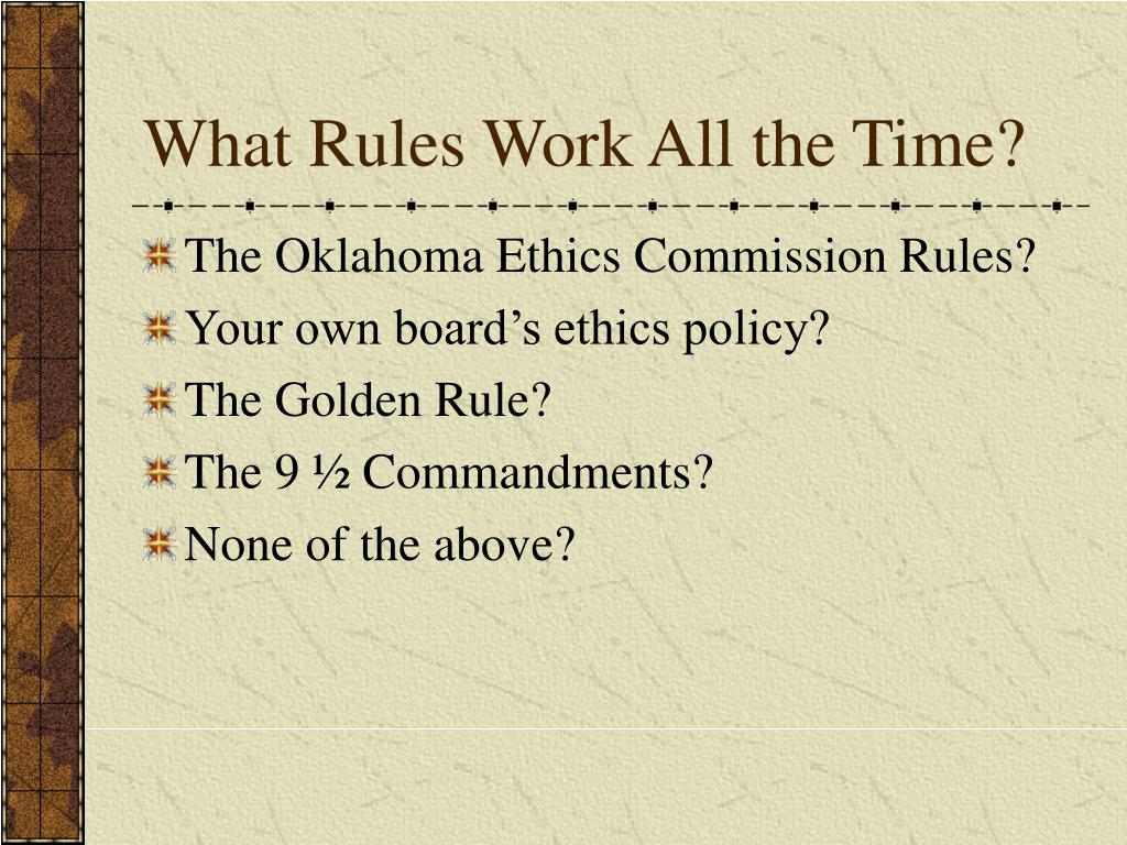 What Rules Work All the Time?