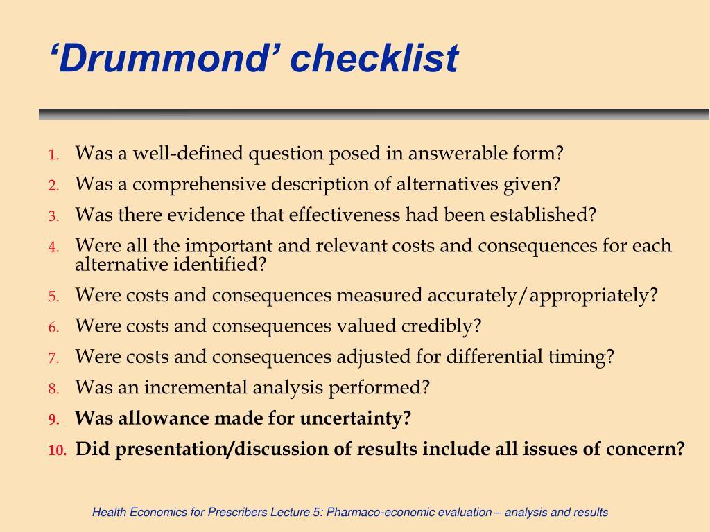 'Drummond' checklist