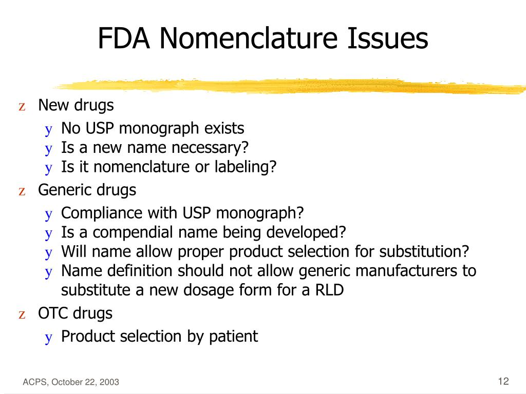 FDA Nomenclature Issues
