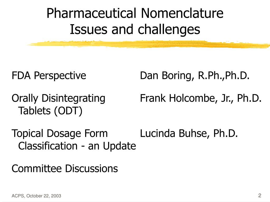 Pharmaceutical Nomenclature    Issues and challenges