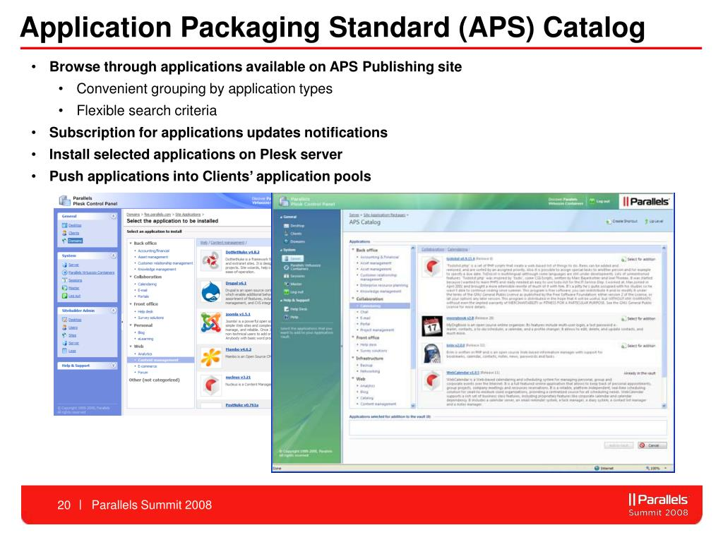 Application Packaging Standard (APS) Catalog